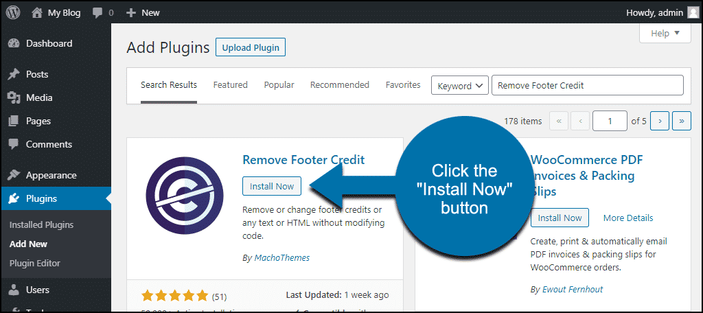 click to install the WordPress Remove Footer Credit plugin