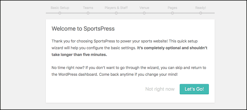 SportsPress welcome page