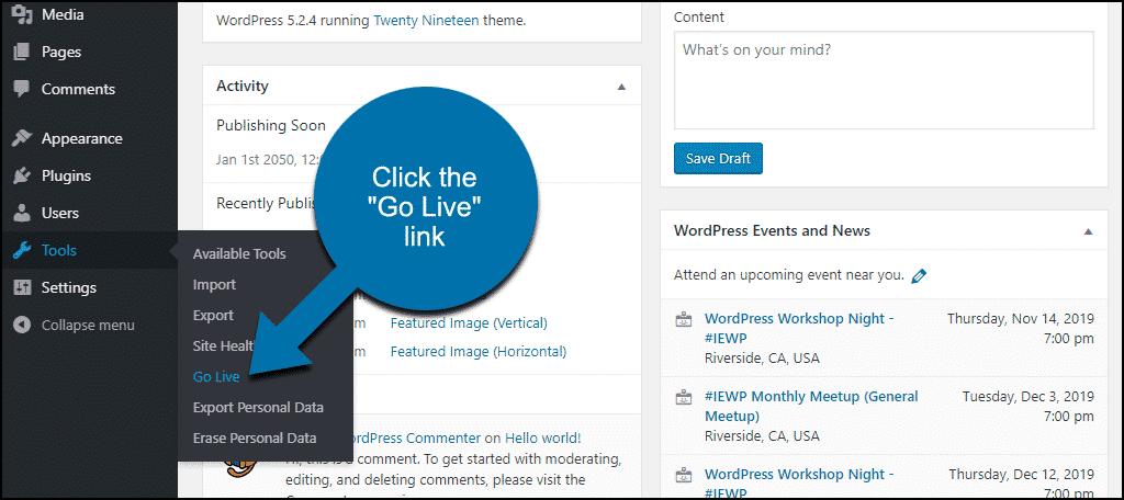 "click the ""Go Live"" link"