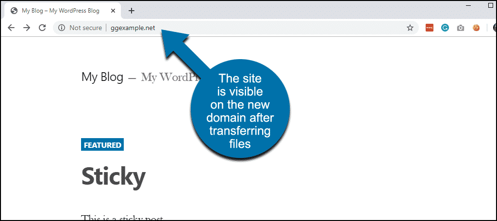 site works on new domain