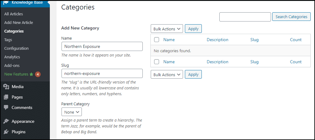 "enter the name of the category in the ""Name"" field"
