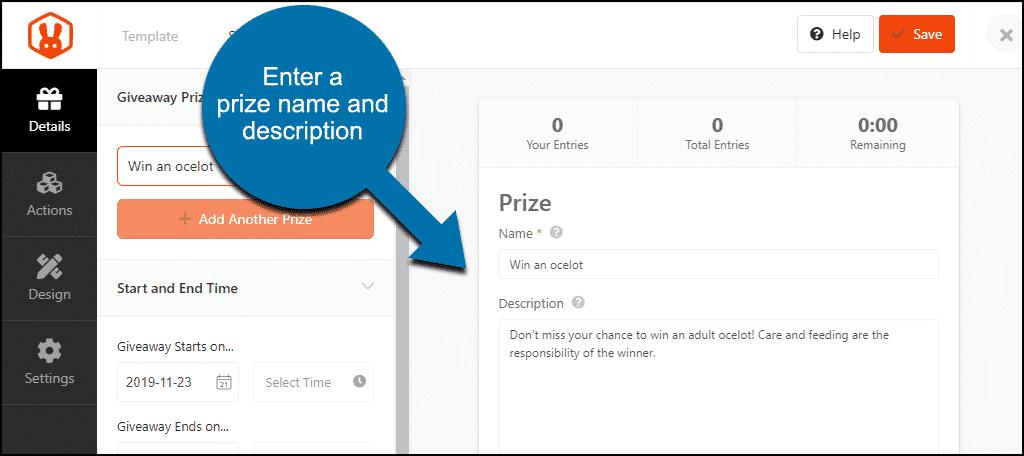 add prize and description