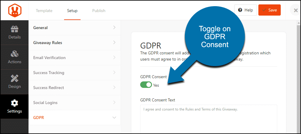 toggle GDPR consent to yes