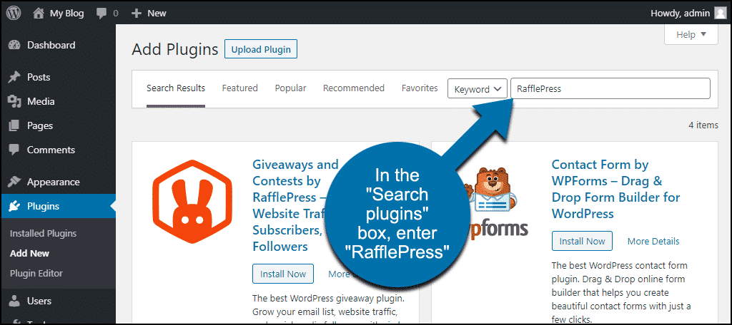 search for the WordPress Giveaways and Contests by RafflePress plugin
