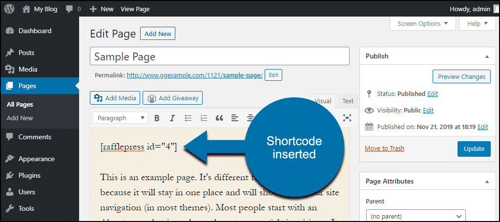 shortcode in page