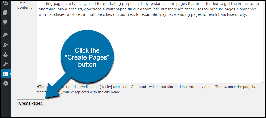 "click the ""Create Pages"" button"