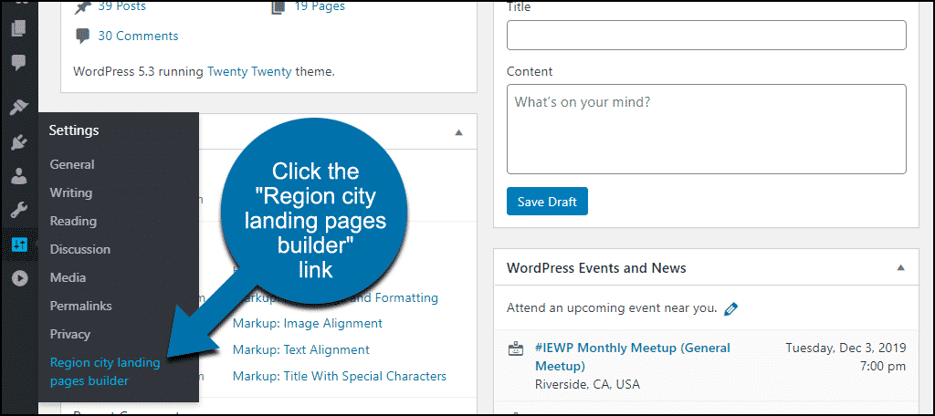 "click the ""Region city landing pages builder"" link"