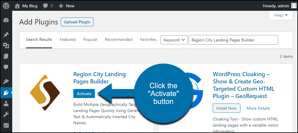 click to activate the WordPress Region City Landing Pages Builder plugin