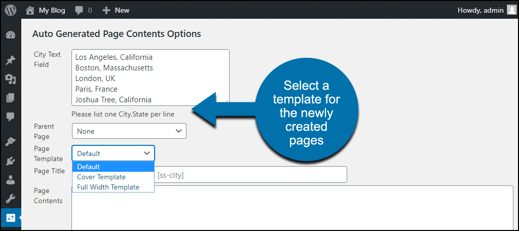 select a template for the newly created pages