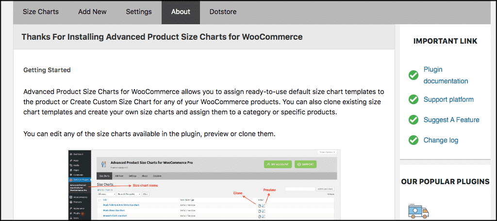 About WooCommerce product size charts
