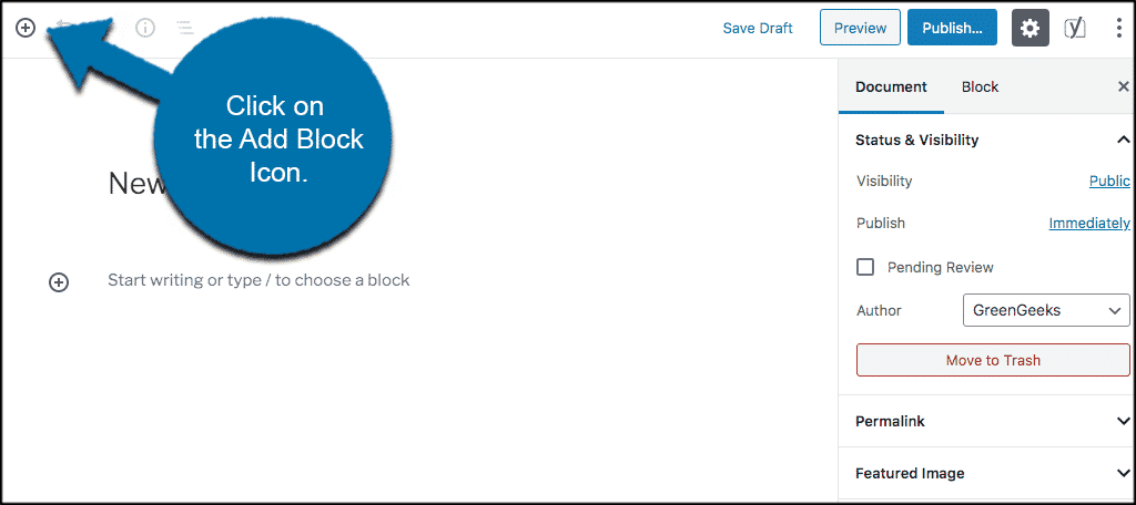Click on the add block icon