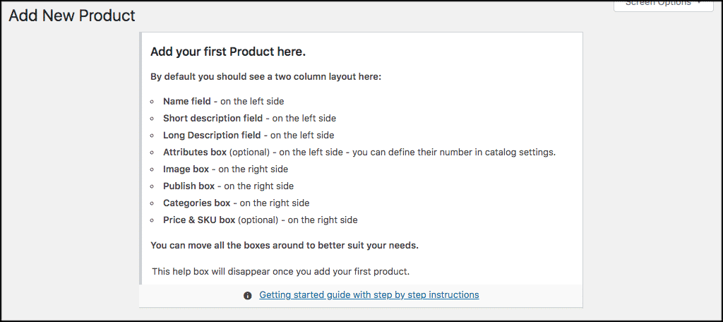 Add first product help box