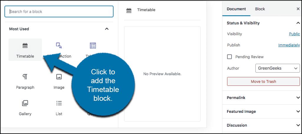 Click to add timetable in wordpress block