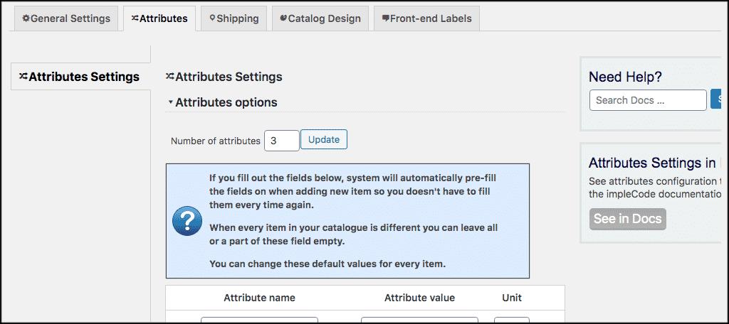 Atributes tab
