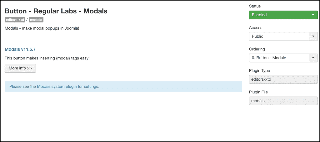 Button configuration for Joomla popup box