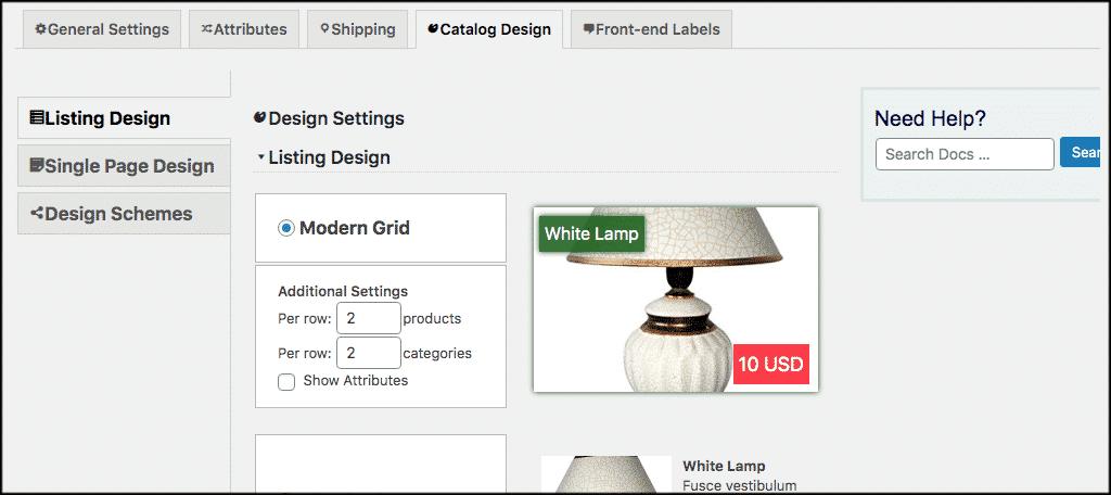 WordPress product catalog design