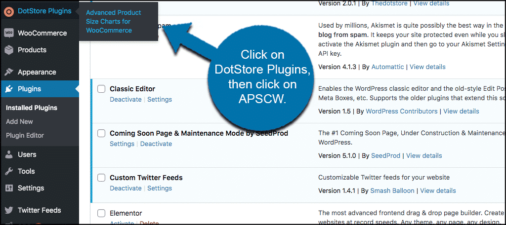 Click on DotStore, then click on APSC