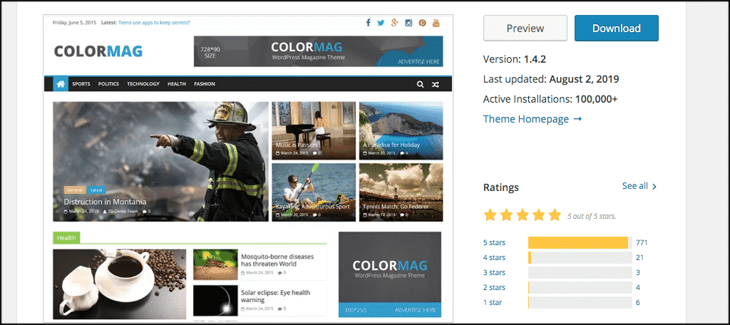 ColorMag theme for personal website