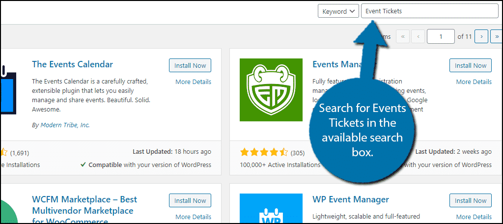 Search for Event Tickets