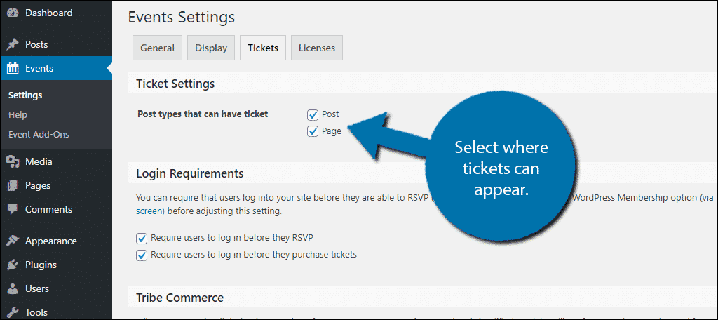 Select Tickets Location