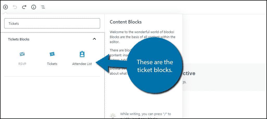 Ticket Blocks