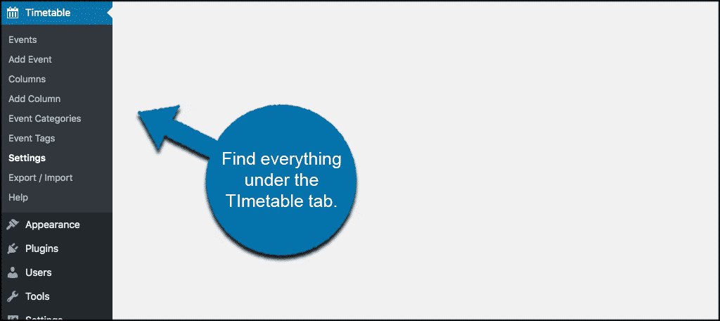 Everything under timetable for wordpress tab