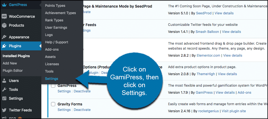 Gamipress settings