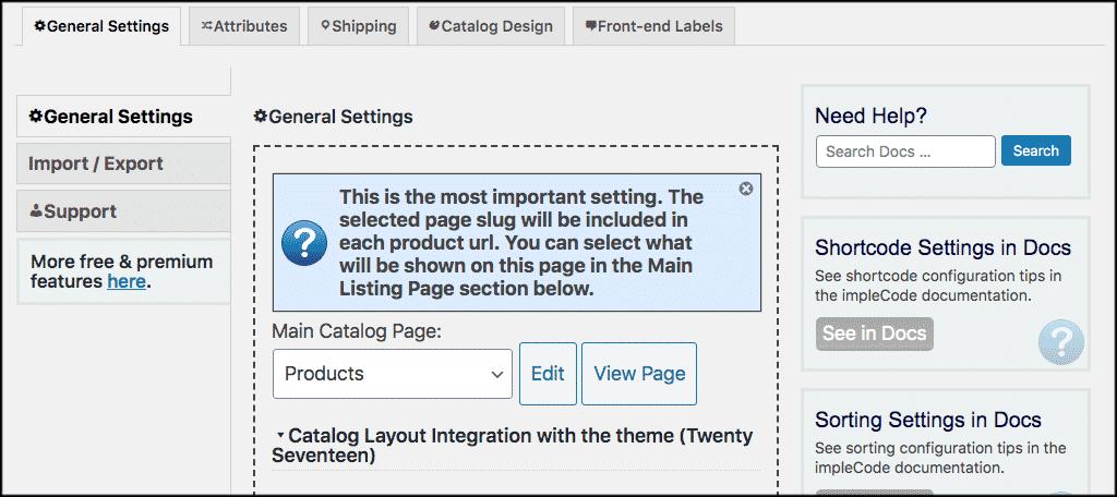 wordpress product catalog general settings