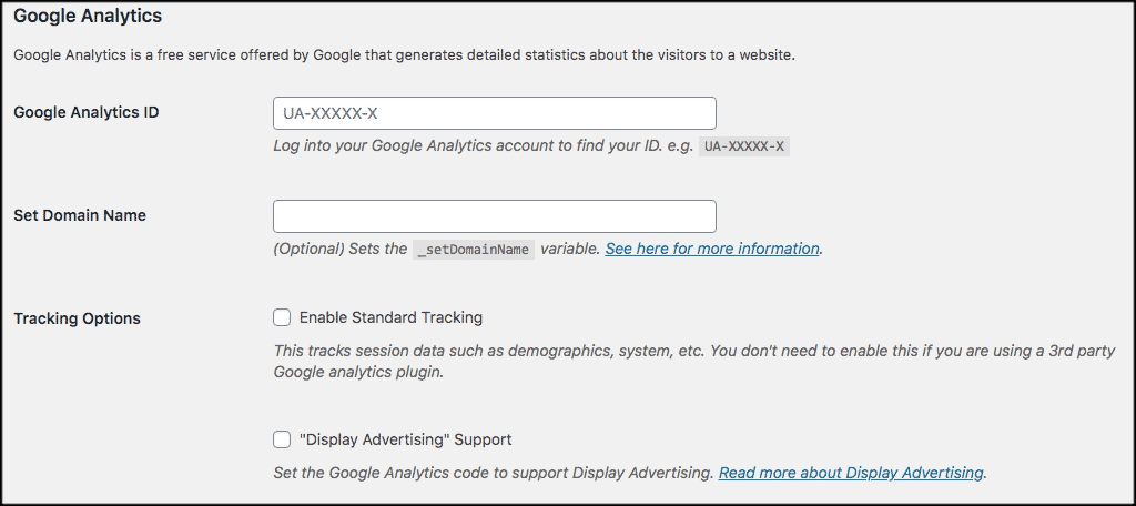Google analytics id domain name