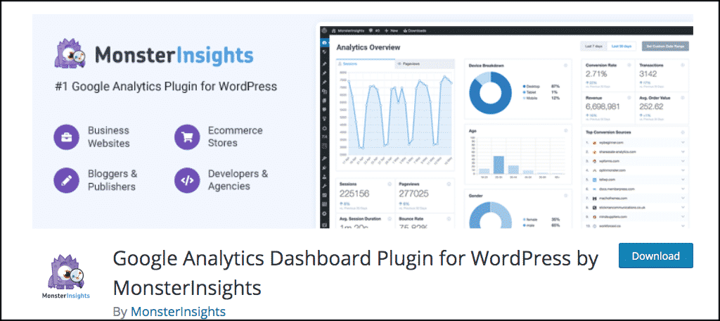 Google analytics pplugin for monsterinsights