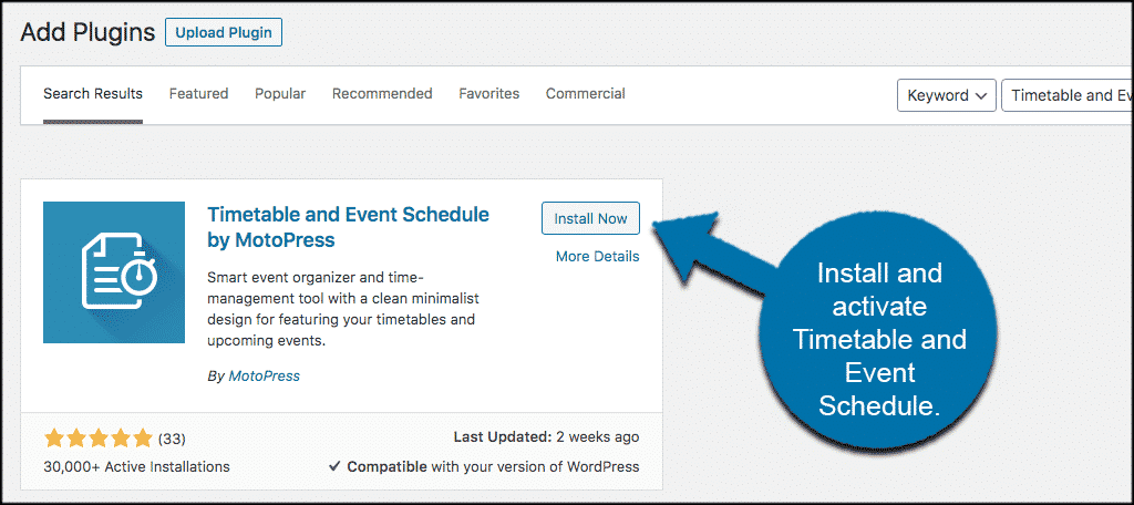 Install and activate timetable in wordpress