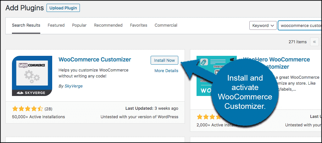 Install and activate woocommerce customizer