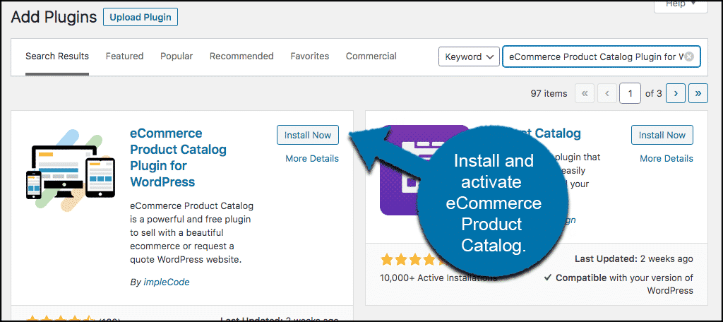 Install and activate wordpress product catalog plugin