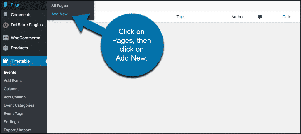 Click pages then click add new