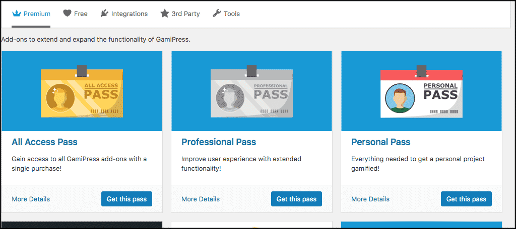 Premium add ons for to gamify wordpress