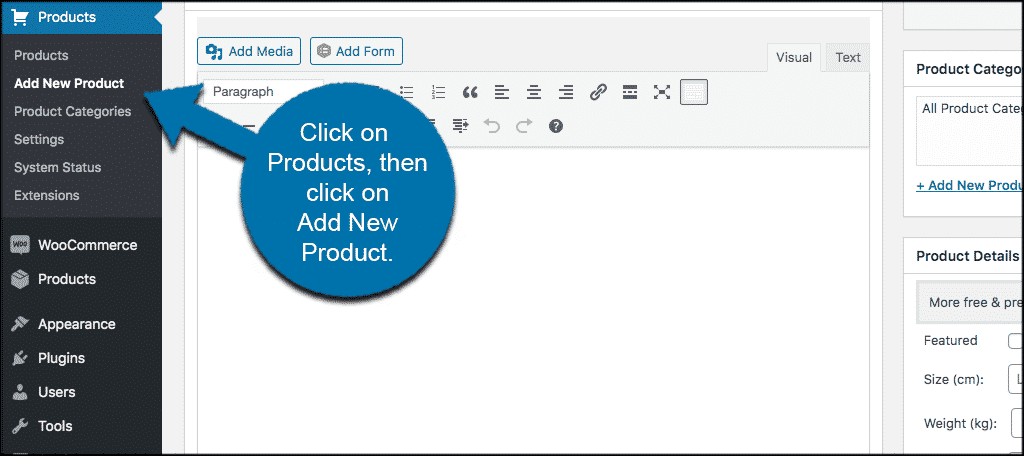 Click products then click add new products