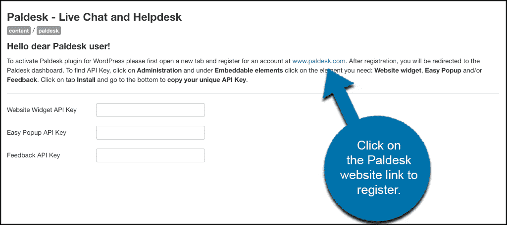 Click paldesk link to register plugin
