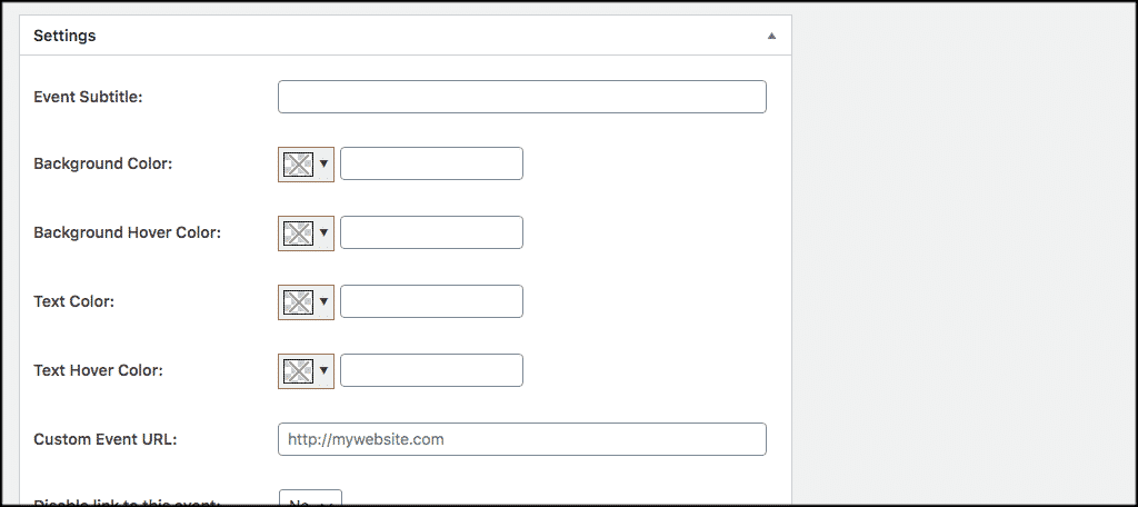 Timetable in wordpress settings