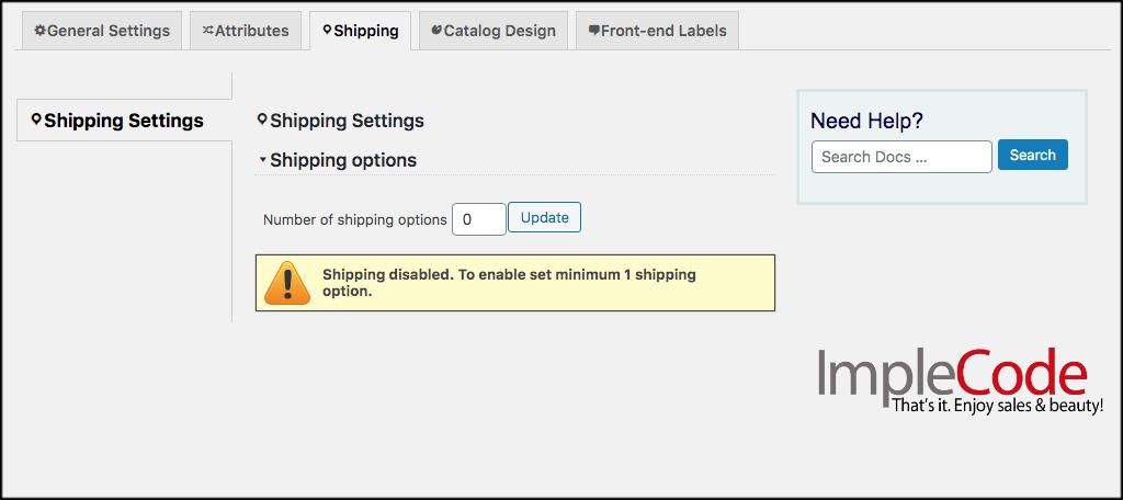 Shipping tab