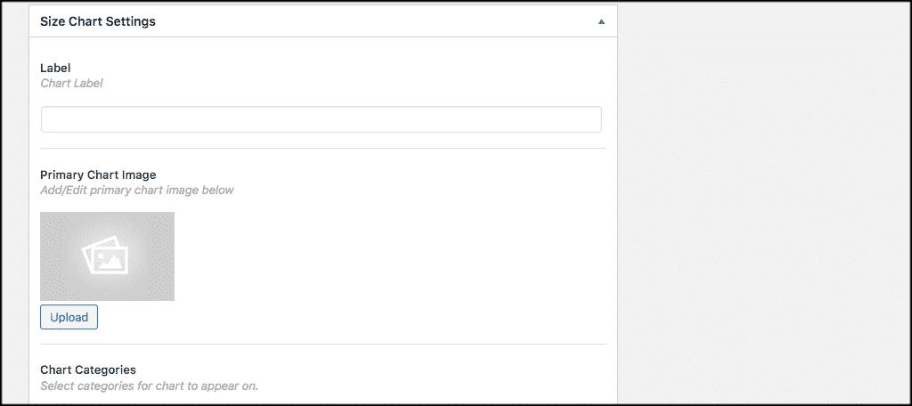 Size chart settings