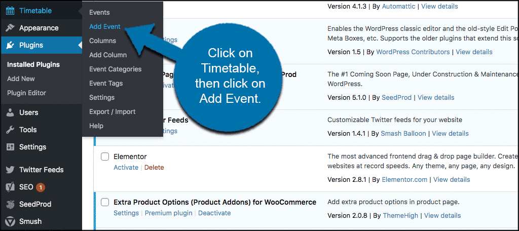 Click timetable then add event
