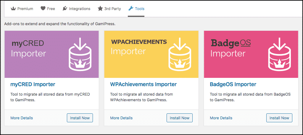 Gamify wordpress tools