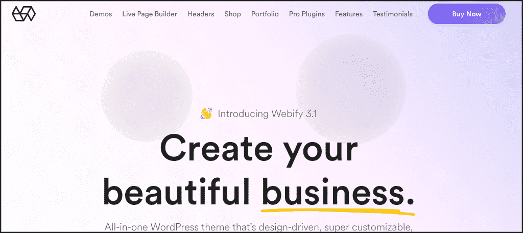 Webify professional website wordpress theme