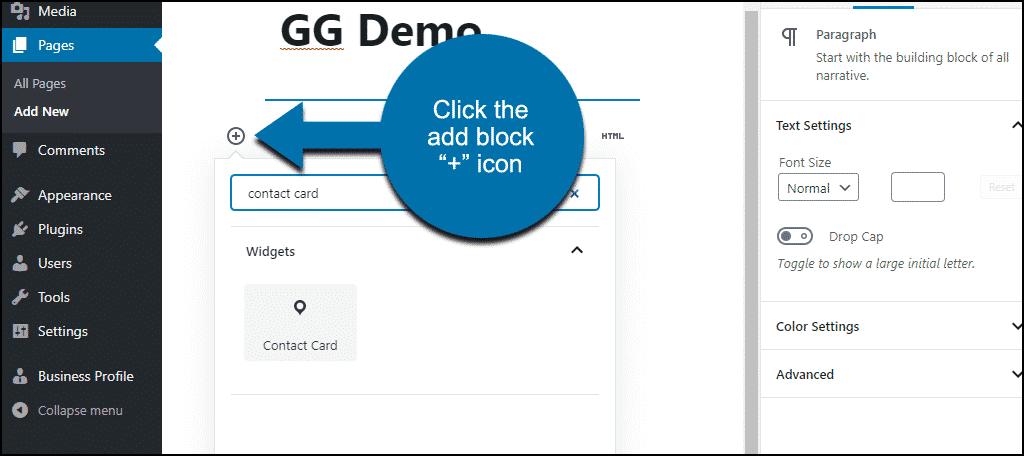 click add block icon