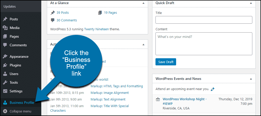 """click the """"Business Profile"""" link"""