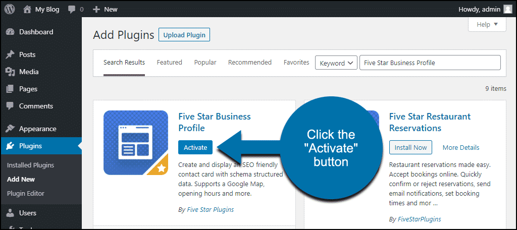 click to activate the WordPress Five Star Business Profile plugin