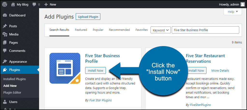 click to install the WordPress Five Star Business Profile plugin