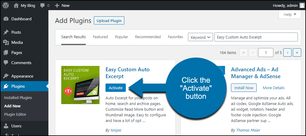 click to activate the WordPress Easy Custom Auto Excerpt plugin