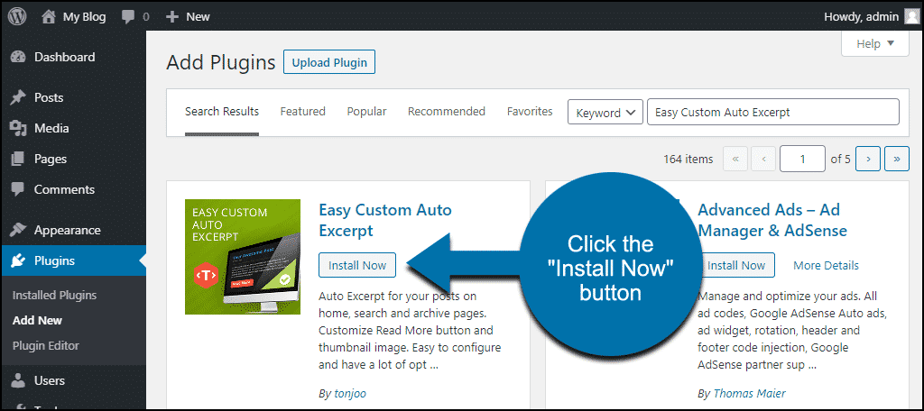 click to install the WordPress Easy Custom Auto Excerpt plugin