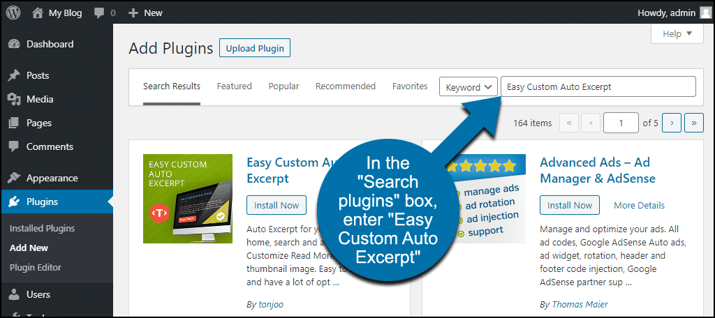 search for the WordPress Easy Custom Auto Excerpt plugin